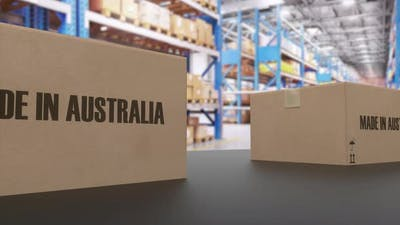 Boxes with MADE IN AUSTRALIA Text on Conveyor