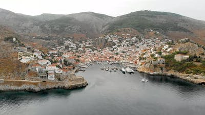 Aerial View of Hydra in the Greece
