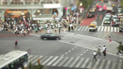 The chaotic Shibuya Crossing In Tokyo Japan