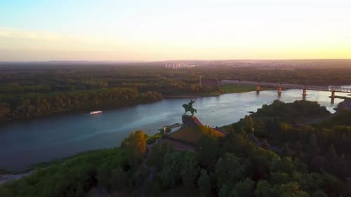 Aerial Panoramic View to Cultural Center of Ufa Capital of Bashkortostan at Beautiful Magic Hour