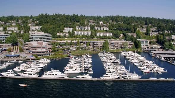 Thumbnail for Helicopter Aerial Of Yarrow Bay Marina In Kirkland Washington