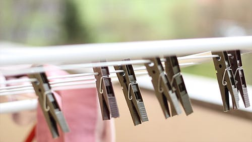 Laundry Dryer Clips in Wind