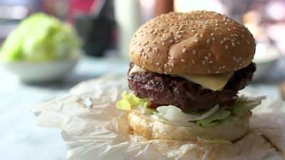Close-up of a Beef Burger