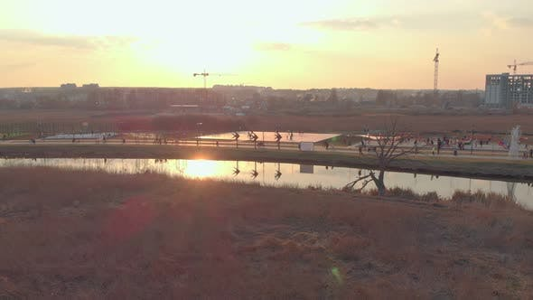 Sunset park river sports ground aerial drone view