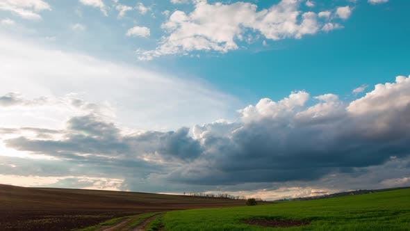 Dramatic Sky over the Endless Fields