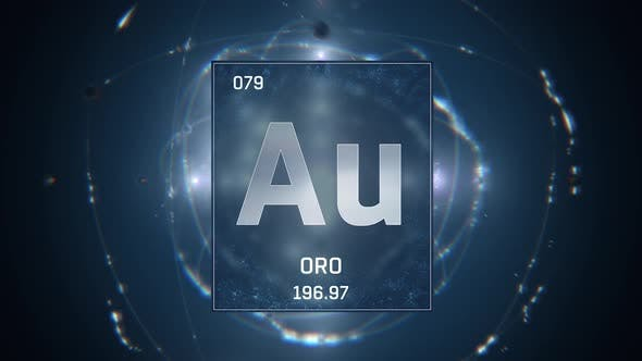 Thumbnail for Gold as Element 79 of the Periodic Table on Blue Background in Spanish Language