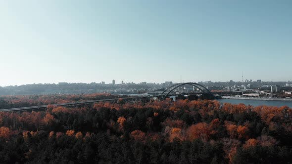 Thumbnail for Unfinished Car Iron Bridge in Kiev Across River in Industrial City Park
