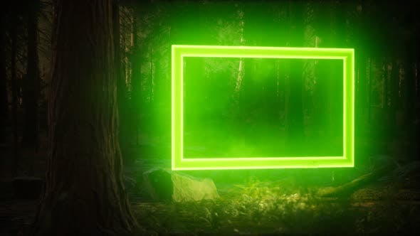 Thumbnail for Neon Glowing Rectangle Frame in the Night Forest