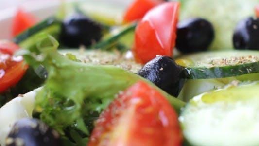 Thumbnail for Olive Oil Poured over Fresh Vegetable Salad