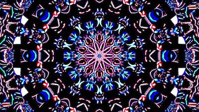 Bright abstract light governing full color, kaleidoscope, black background