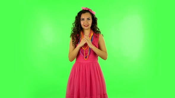 Thumbnail for Girl Waiting in Anticipation with Pleasure. Green Screen