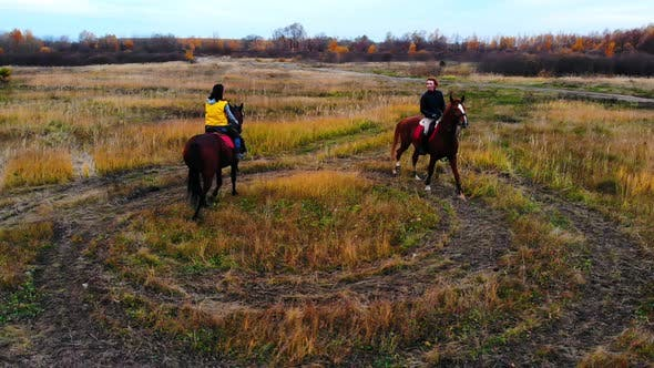 Thumbnail for Two Horses with Equestrians Are Going in Circle on the Field