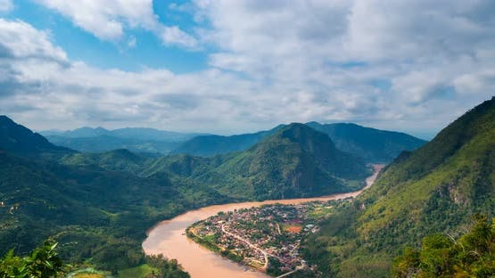Time lapse: Laos landscape motion clouds Nong Khiaw Muang Ngoi, dramatic sky