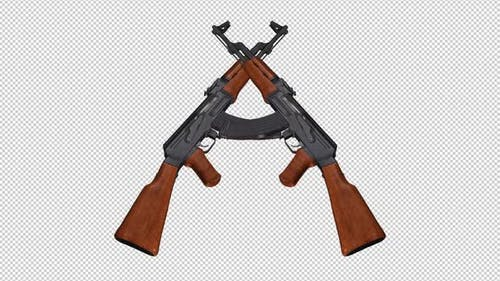 Two Military Guns - Russian Kalashnikov AK 47 - Transparent Transition