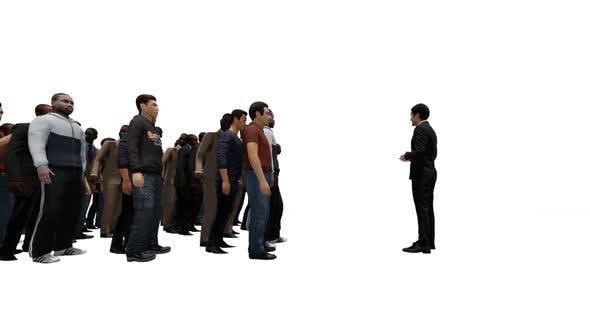 Man Talking to Crowd Group