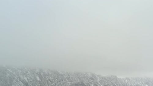 Low visibility  on Veliki Krs mountain top 4K drone video
