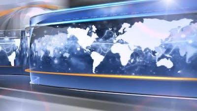 Digital World Map News Studio Background