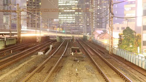 Trains in Tokyo Japan Time Lapse