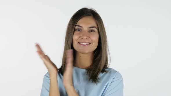 Thumbnail for Clapping, applause by Beautiful Girl, White Background in Studio