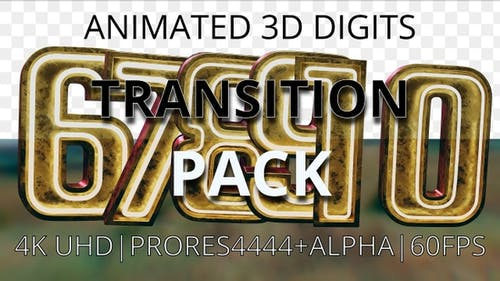Animated digits' pack from 6 to 10 transition UHD 60fps