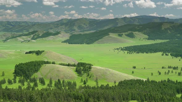 Green Meadows in The Sparsely Wooded Between Forest Covered Hills