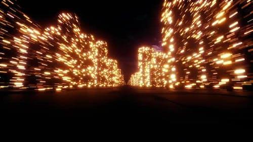 Night City Lights Camera Flyby