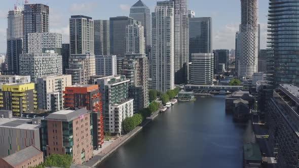 Thumbnail for Above Modern City Skyline London Docklands
