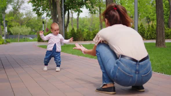 Baby Girl Takes First Steps