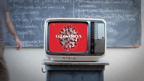Cover Image for COVID-19 on a Retro TV at School Classroom.