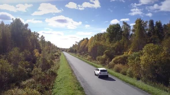 Thumbnail for Camera Follows Car Driving Along Road Across Wood Under Sky