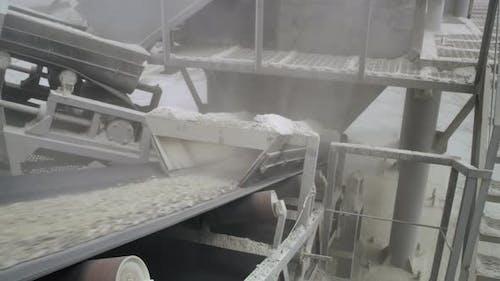 Conveyor Belt Delivering Stone Rubble Up