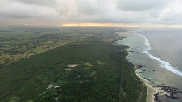 Thumbnail for Aerial Bird Eye View of Coast with Sand Beach and Palm Trees and Water of Indian Ocean, Mauritius