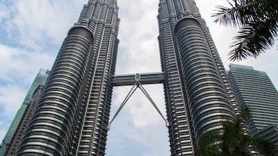 Hyperlapse Petronas Twin Towers Timelapse in Motion Kuala Lumpur, Malaysia
