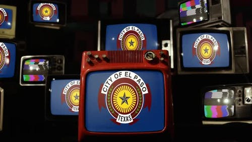 Flag of El Paso, Texas, and Retro TVs.