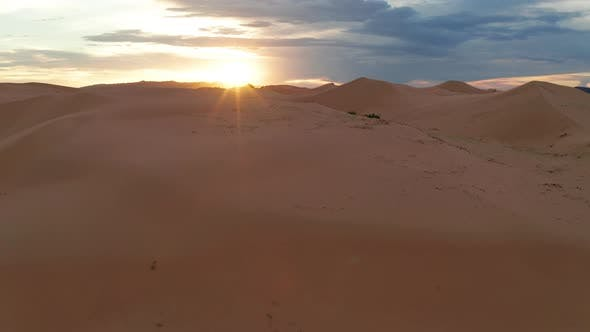 Thumbnail for Sunset Over the Sand Dunes in the Desert