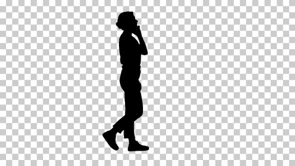 Thumbnail for Silhouette Beautiful young girl having a phone call walking