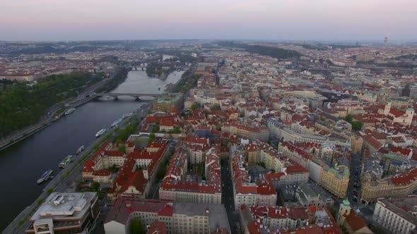 Thumbnail for Aerial Shot of Prague and Vltava River, Czech Republic