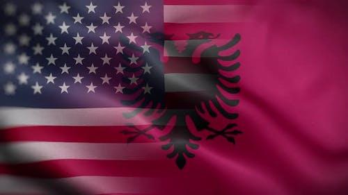 USA Albania Flag Loop Background 4K
