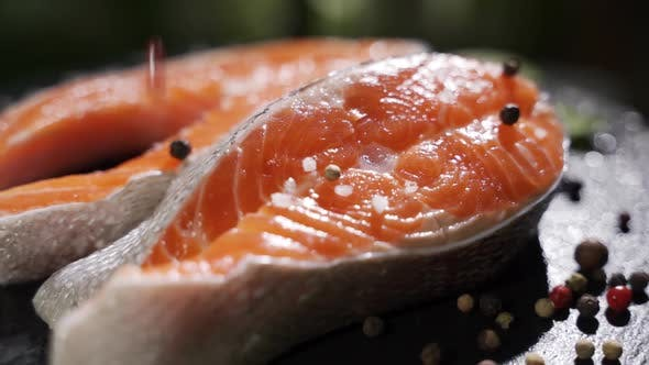 Salmon Steaks Macro with Salt and Pepper. Rotation.