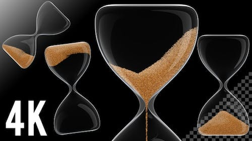 Hour Glass / Sand Clock in Transparent Background 60 Seconds - 4K