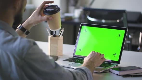 Man Working on Laptop with Green Screen at Office. He Drinks Coffee From Paper Cup. Chroma Key Spbd