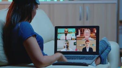 Woman Streaming Online Webinar Training