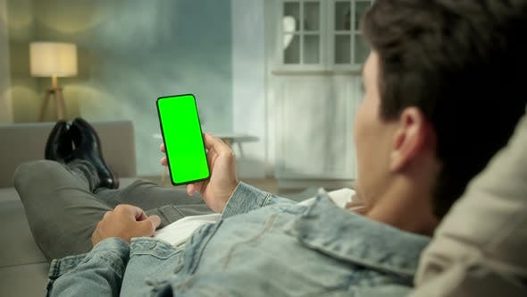 Cover Image for Back View of Brunette Man Holding Chroma Key Green Screen Smartphone Watching Content Without