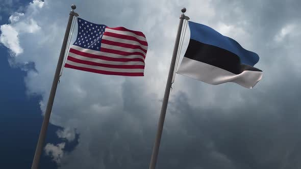 Waving Flags Of The United States And Estonia 2K