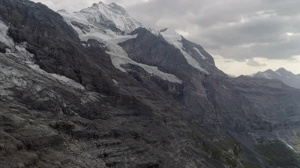 Aerial of Eiger Glacier and Jungfrau in the Bernese Alps Switzerland