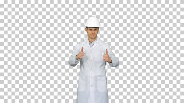 Thumbnail for A Young Engineer Putting Dafety Hat On, Alpha Channel