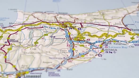 Road Map Cyprus Country In The Middle East.