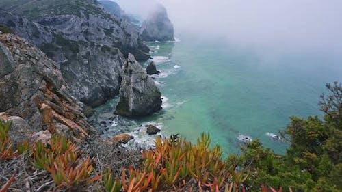 Rugged Bizarre Rocks at Atlantic Coastline in Morning Fog, Foliage and Cabo Da Roca, Sintra