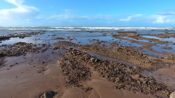 Thumbnail for Moving over Rocky Beach in Sunny Summer Morocco Natural Scenery