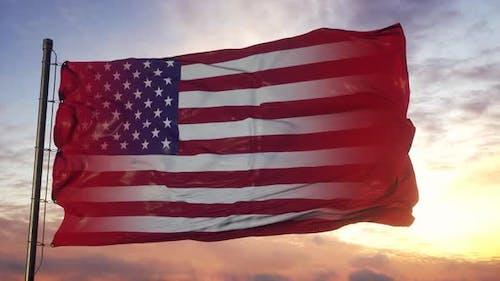Switzerland and USA Flag on Flagpole